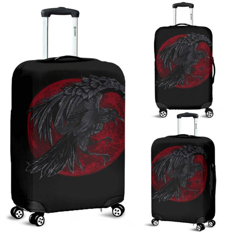 1stIceland Viking Luggage Cover, Odin's Raven Red Moon Nn8 - 1st Iceland