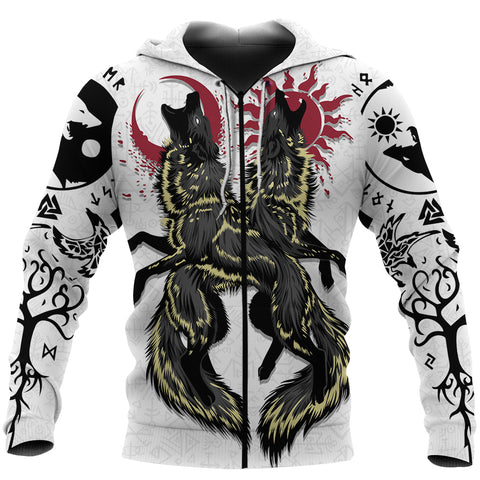 1stIceland Viking Zip Up Hoodie, Skoll and Hati Sun Moon K4 - 1st Iceland