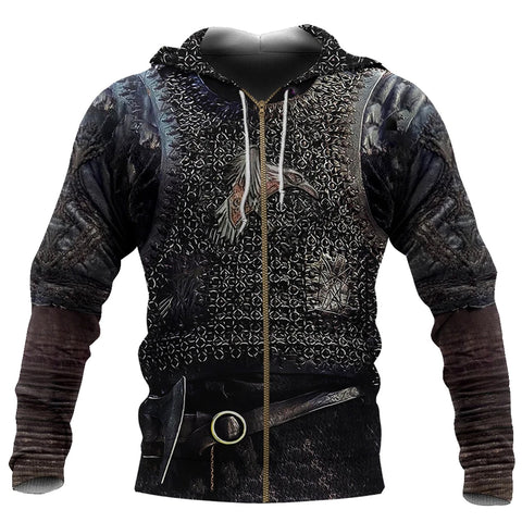 1stIceland Viking Zip Up Hoodie, Raven 3D Armour All Over Print - TH00 - 1st Iceland