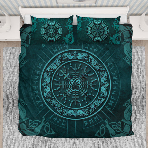 1stIceland Viking Bedding Set, Helm Of Awe Rune Circle Valknut K7 (Turquoise) - 1st Iceland