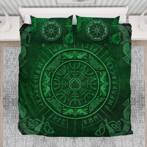 1stIceland Viking Bedding Set, Helm Of Awe Rune Circle Valknut K7 - 1st Iceland