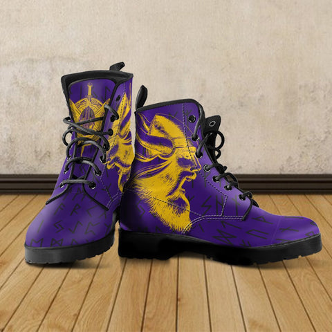 1stIceland Viking Leather Boots, Minnesota Vikings Football Runes TH7 - 1st Iceland