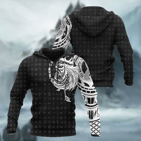 Image of 1stIceland Viking Hoodie, Odin Warrior Runes A75 - 1st Iceland