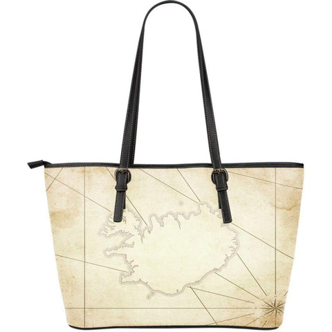 1stIceland Leather Tote Bags, Iceland Map 01 - 1st Iceland