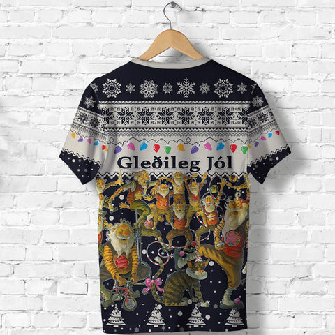 1stIceland Iceland Christmas T Shirt The Yule Lads Warm Vibes - Navy K8 - 1st Iceland