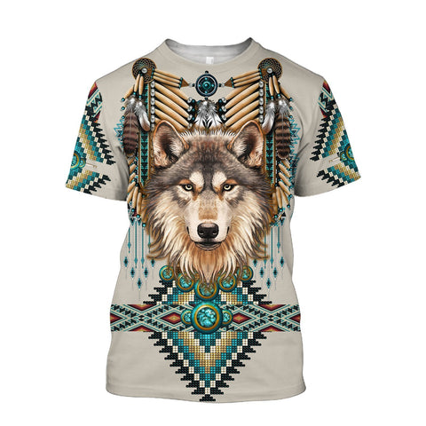 1st Iceland Native Spirit Wolf 3D T-Shirt TH12 - 1st Iceland