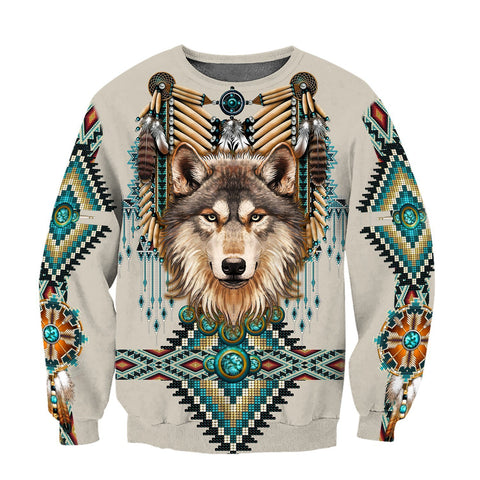 1st Iceland Native Spirit Wolf 3D Sweatshirt TH12 - 1st Iceland