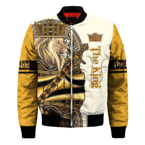 1stIceland King Lion Yellow Poker Men Bomber Jacket