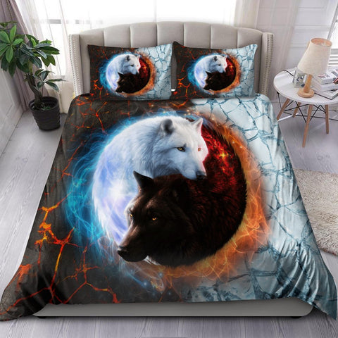 1stIceland Viking Yin Yang Ice And Fire Wolf Art Bedding Set Th12 - 1st Iceland