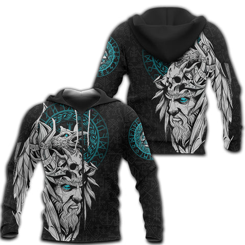 1stIceland Viking Odin And Raven Turquoise Zip Hoodie TH12 - 1st Iceland
