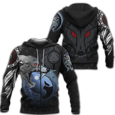 1stIceland Viking Moon Wolf Zip Hoodie TH12 - 1st Iceland