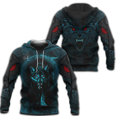 1stIceland Viking 3D Printed Unisex Zip Hoodie Moon Wolf Tattoo | 1sticeland.com