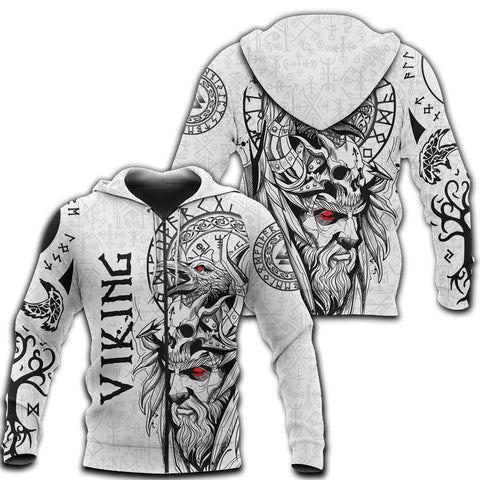 1stIceland Viking Odin And Raven White Zip Hoodie TH12 - 1st Iceland