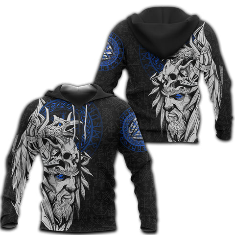 1stIceland Viking Odin And Raven Blue Zip Hoodie TH12 - 1st Iceland