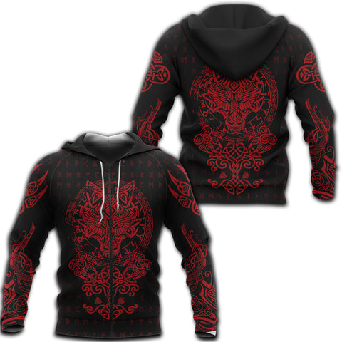 Image of 1sticeland Viking Wolf Fenrir Red Zip Hoodie TH12 - 1st Iceland