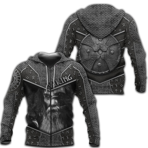 1stIceland Viking 3D Printed Unisex Zip Hoodie Odin Armor TH12 - 1st Iceland