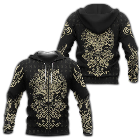 Image of 1sticeland Viking Wolf Fenrir Zip Hoodie TH12 - 1st Iceland