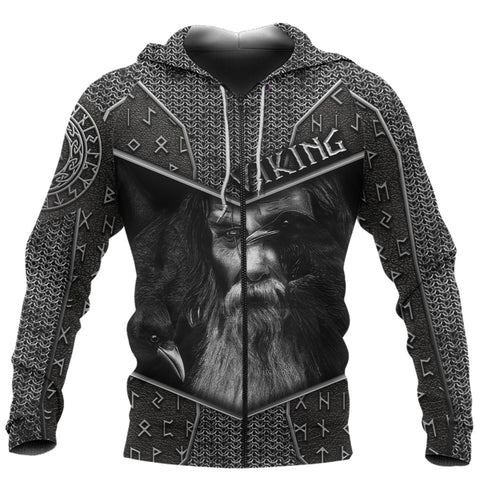 1stIceland Viking 3D Printed Unisex Zip Hoodie Odin Armor | 1sticeland.com