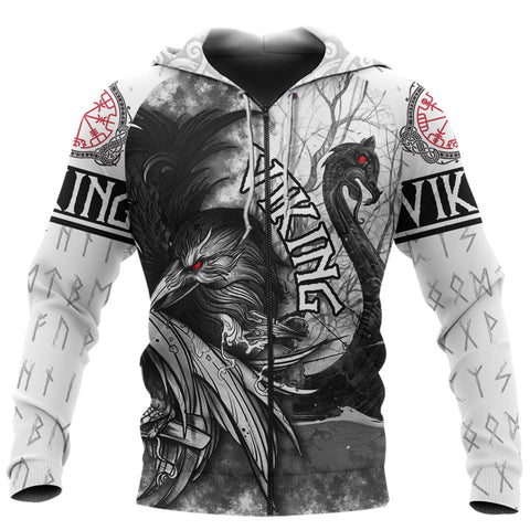 Image of 1stIceland Viking 3D Printed Unisex Zip Hoodie Raven And Drakkar TH12 - 1st Iceland