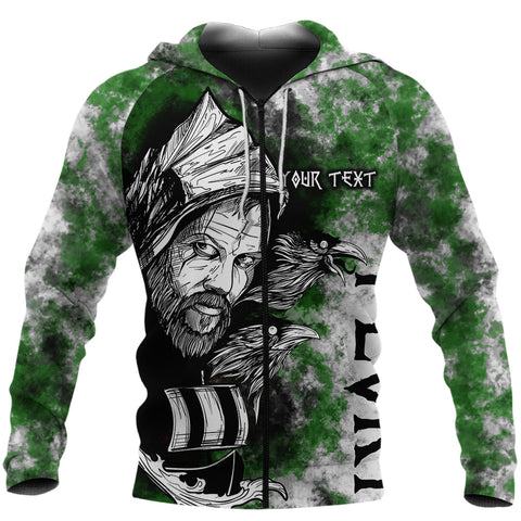 (Custom) 1stIceland Viking Floki 3D Printed Unisex Zip Hoodie Art Style - Green TH12 - 1st Iceland