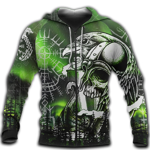 Image of 1stIceland Viking 3D Printed Unisex Zip Hoodie Drakkar And Northern Lights TH12 - 1st Iceland