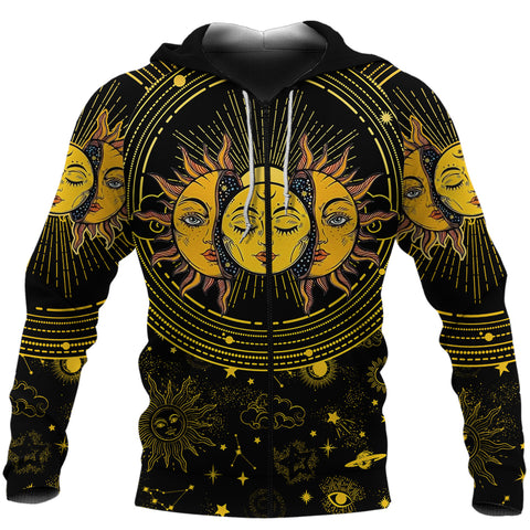 Image of (Custom) 1stIceland Moon And Sun Zip Hoodie | 1sticeland.com
