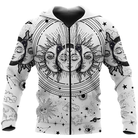 Image of (Custom) 1stIceland Moon And Sun Zip Hoodie Black And White | 1sticeland.com