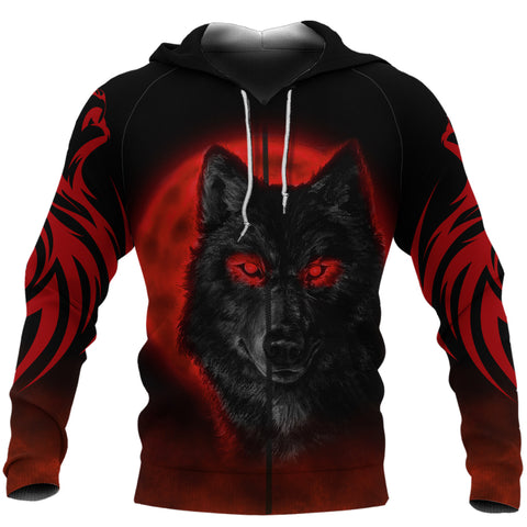 (custom) 1stIceland The Red Moon Wolf 3D Printed Unisex Zip Hoodie TH12