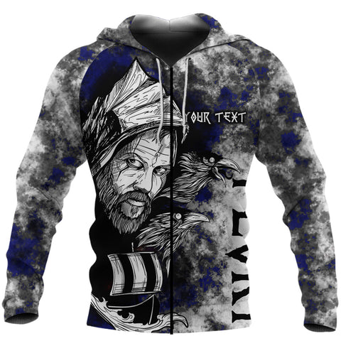 (Custom) 1stIceland Viking Floki 3D Printed Unisex Zip Hoodie Art Style - Blue TH12 - 1st Iceland