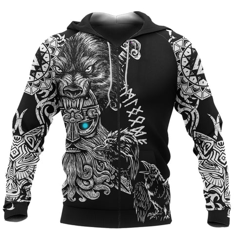 1stIceland Odin Viking Tattoo Zip Hoodie TH12 - 1st Iceland