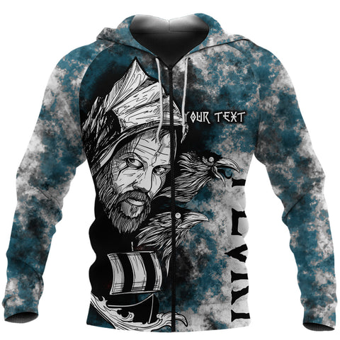 Image of (Custom) 1stIceland Viking Floki 3D Printed Unisex Zip Hoodie Art Style - Turquoise TH12 - 1st Iceland