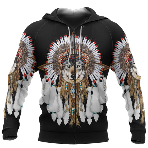 Image of 1st Iceland Grey Wolf Native American Zip Hoodie TH12 - 1st Iceland