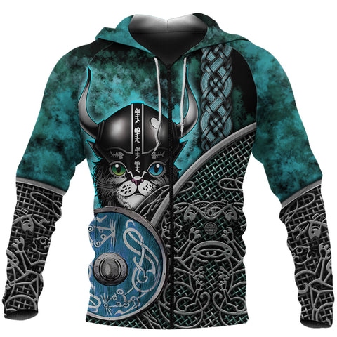 Image of (Custom) 1stIceland Viking 3D Printed Unisex Zip Hoodie Modern Cat Version TH12 - 1st Iceland