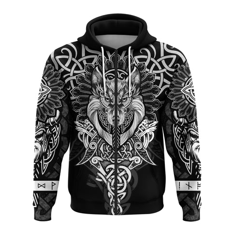 Image of 1st Iceland Wolf Inspired Viking Zip Hoodie TH12 - 1st Iceland