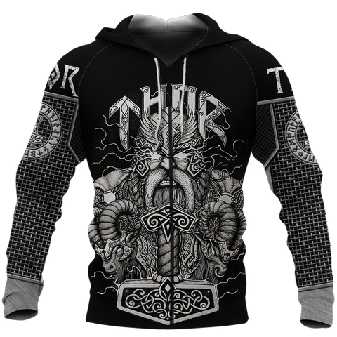 1stIceland Viking 3D Printed Unisex Zip Hoodie Thor Hammer Beautiful | 1sticeland.com