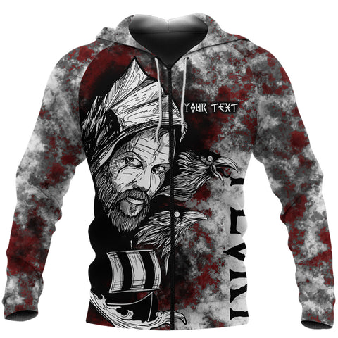 Image of (Custom) 1stIceland Viking Floki 3D Printed Unisex Zip Hoodie Art Style TH12 - 1st Iceland
