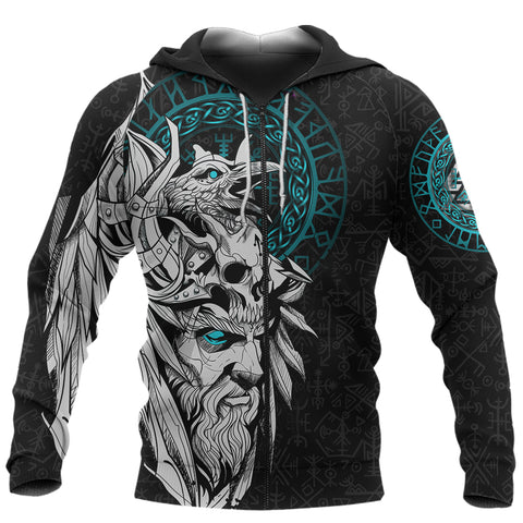 Image of 1stIceland Viking Odin And Raven Turquoise Zip Hoodie TH12 - 1st Iceland
