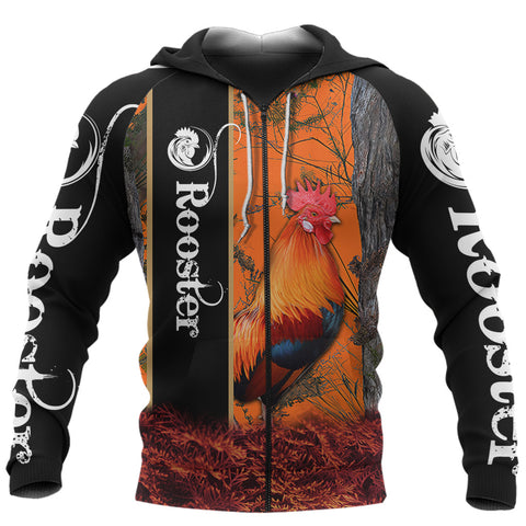 1stIceland Rooster 3D Printed Unisex Zip Hoodie Orange TH12 - 1st Iceland