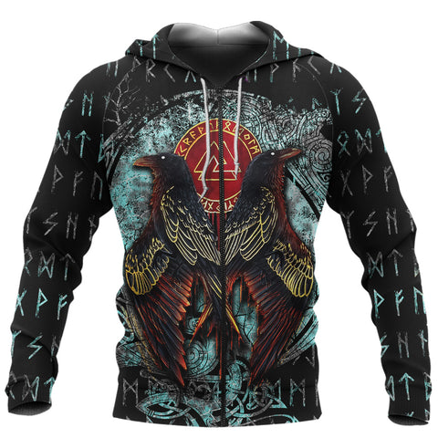 Image of 1stIceland Viking 3D Printed Unisex Zip Hoodie Raven Moon Tattoo TH12 - 1st Iceland