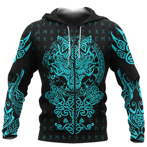 1sticeland Viking Wolf Fenrir Turquoise Zip Hoodie TH12 - 1st Iceland