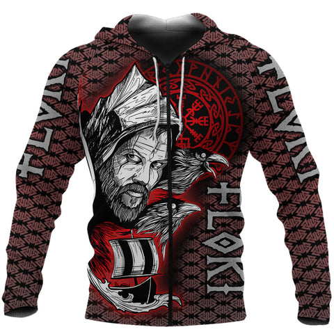 (Custom) 1stIceland Viking Floki 3D Printed Unisex Zip Hoodie Art Style Version Valknut Viking Pattern TH12 - 1st Iceland