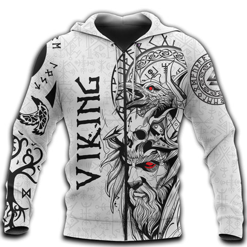 Image of 1stIceland Viking Odin And Raven White Zip Hoodie TH12 - 1st Iceland