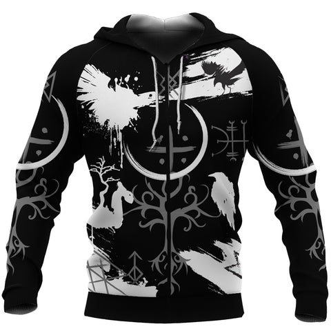 1stIceland Symbol Of Viking Zip-Hoodie Black TH4 - 1st Iceland