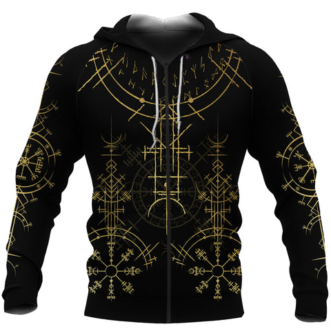 1stIceland Magic Ancient Viking Tattoo Zip-Hoodie Gold