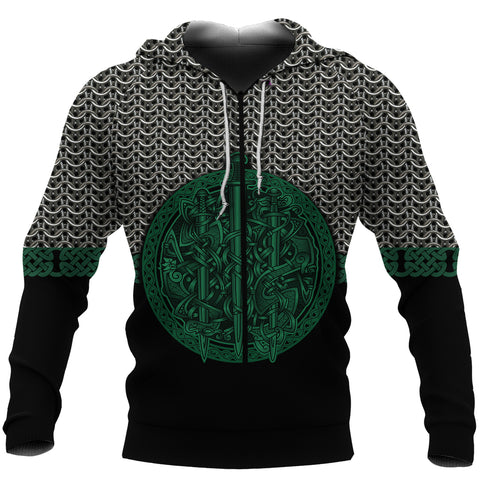 1stIceland Viking Sword Zip-Hoodie Mix Celtic Patterns Green TH4 - 1st Iceland