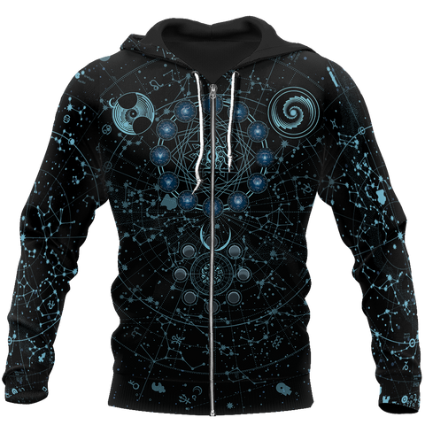 Image of 1sticeland Alchemy Sky Signs 3D Zip Hoodie