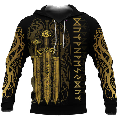 1stIceland Viking Sword Zip-Hoodie Gold