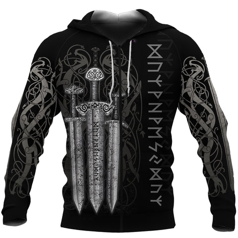 1stIceland Viking Sword Zip-Hoodie TH4 - 1st Iceland
