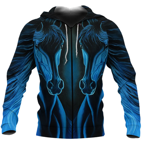 Image of Arabian Horse Blue Zip-Hoodie TH4 - 1st Iceland