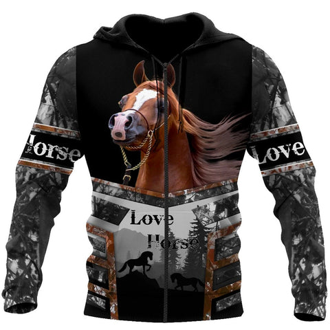 1sticeland Beautiful Horse Zip Hoodie TH12 - 1st Iceland